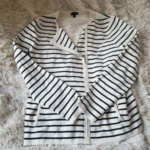 Talbots white and black striped zip cardigan